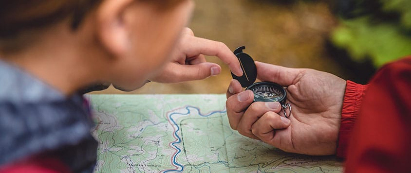 backpacking with compass map navigation